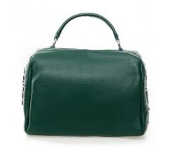 Жіноча компактна сумка з натуральної шкіри зелена
