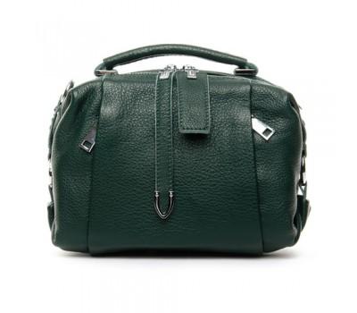 Женская сумка-бочонок кожаная зеленая
