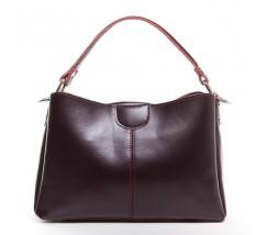 Жіноча шкіряна сумка середнього розміру бордова