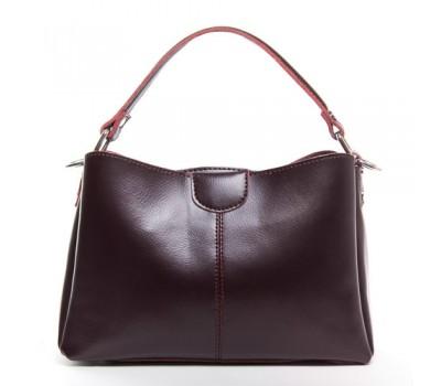 Женская кожаная сумка среднего размера бордовая