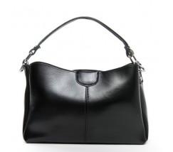 Жіноча шкіряна сумка середнього розміру чорна