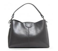 Жіноча шкіряна сумка середнього розміру сіра