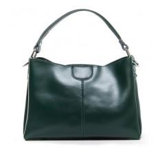 Жіноча шкіряна сумка середнього розміру зелена