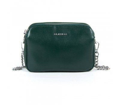 Маленькая женская кожаная сумка зеленая