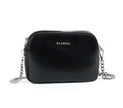 Маленька жіноча шкіряна сумка чорна