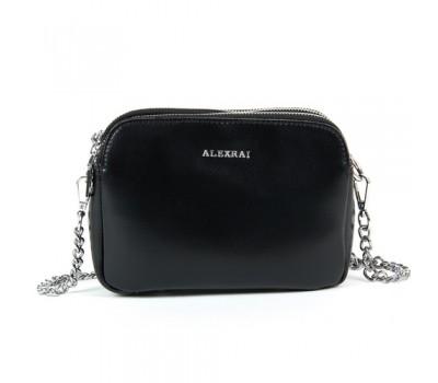 Маленькая женская кожаная сумка черная
