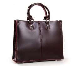 Класична шкіряна жіноча сумка бордова