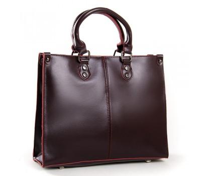 Классическая кожаная женская сумка бордовая