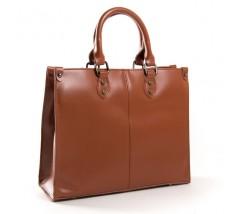 Класична шкіряна жіноча сумка коричнева