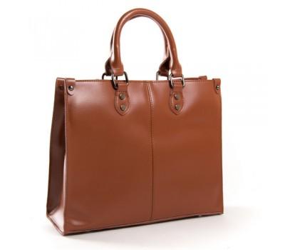 Классическая кожаная женская сумка коричневая