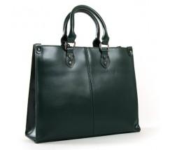 Класична шкіряна жіноча сумка зелена
