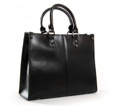 Класична шкіряна жіноча сумка чорна