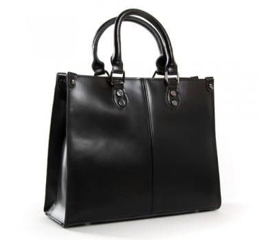 Классическая кожаная женская сумка черная