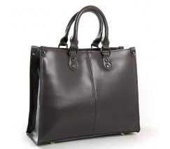 Класична шкіряна жіноча сумка сіра