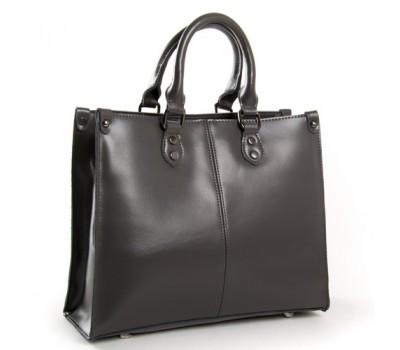 Классическая кожаная женская сумка серая