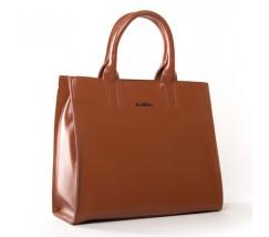 Велика шкіряна жіноча сумка коричнева