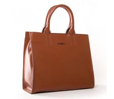 Большая кожаная женская сумка коричневая