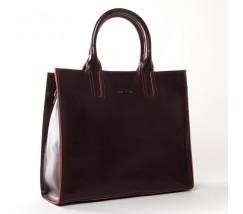 Велика шкіряна жіноча сумка бордова