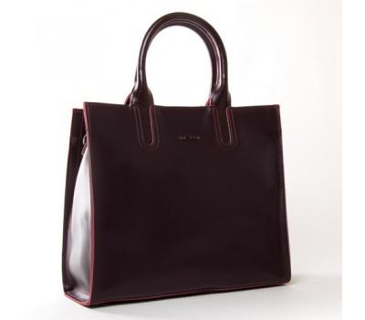 Большая кожаная женская сумка бордовая