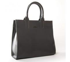 Велика шкіряна жіноча сумка сіра