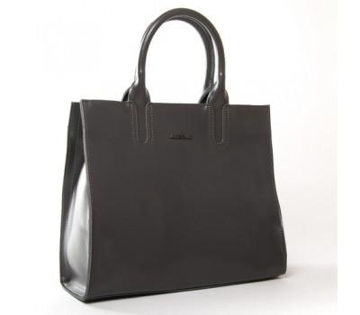 Большая кожаная женская сумка серая