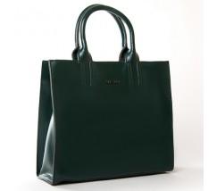 Велика шкіряна жіноча сумка зелена