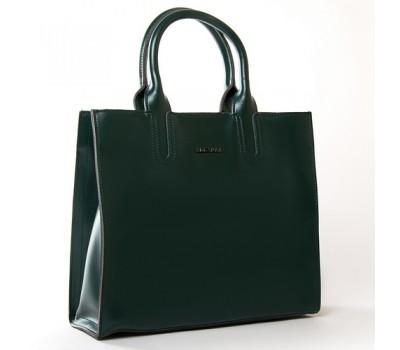 Большая кожаная женская сумка зеленая