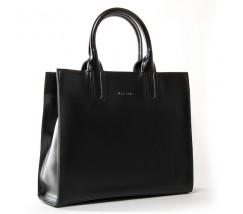 Велика шкіряна жіноча сумка чорна
