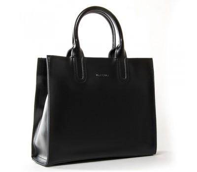 Большая кожаная женская сумка черная