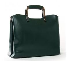 Жіноча шкіряна сумка з квадратними ручками зелена
