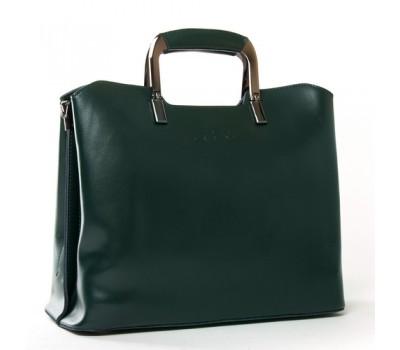 Женская кожаная сумка с квадратными ручками зеленая