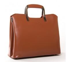 Жіноча шкіряна сумка з квадратними ручками коричнева