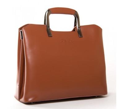 Женская кожаная сумка с квадратными ручками коричневая