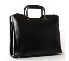 Жіноча шкіряна сумка з квадратними ручками чорна