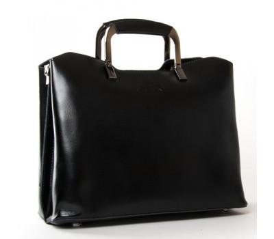 Женская кожаная сумка с квадратными ручками черная