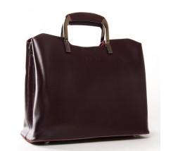 Жіноча шкіряна сумка з квадратними ручками бордова