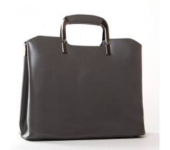 Жіноча шкіряна сумка з квадратними ручками сіра