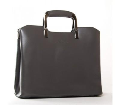 Женская кожаная сумка с квадратными ручками серая