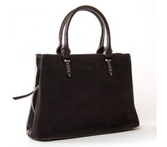 Жіноча сумка з натуральної замші і шкіри коричнева