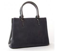 Жіноча сумка з натуральної замші і шкіри сіра