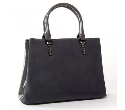 Женская сумка из натуральной замши и кожи серая