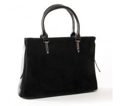 Жіноча сумка з натуральної замші і шкіри чорна
