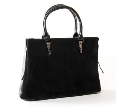 Женская сумка из натуральной замши и кожи черная