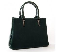 Жіноча сумка з натуральної замші і шкіри зелена