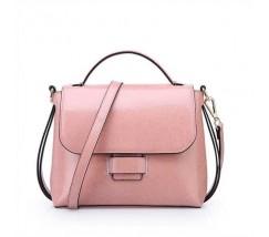Жіноча сумка стильна з натуральної шкіри рожева