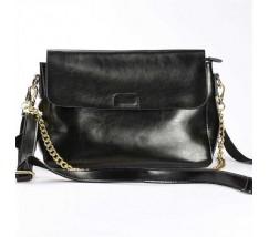 Женская небольшая кожаная сумка черная