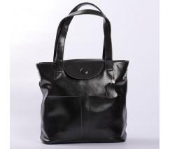 Велика жіноча шкіряна сумка чорна