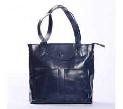 Большая женская кожаная сумка синяя
