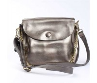 Жіноча сумка з натуральної шкіри з ґудзиком бронзова