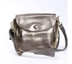 Женская сумка из натуральной кожи с пуговкой бронзовая